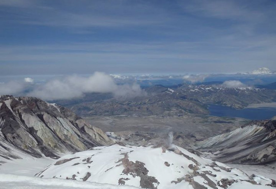 caption: The crater of Mount St. Helens.