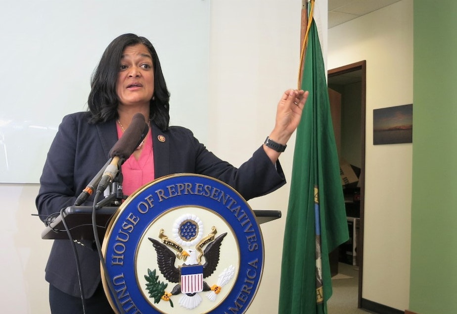 Democratic Congresswoman Pramila Jayapal (7th District) briefs reporters at her Seattle office, July 31, 2019.