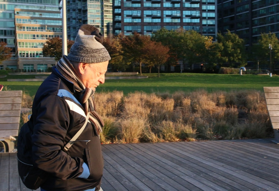 Jack Eichenbaum in Long Island City. Eichenbaum says the first wave of development here brought some good amenities, like this boardwalk.
