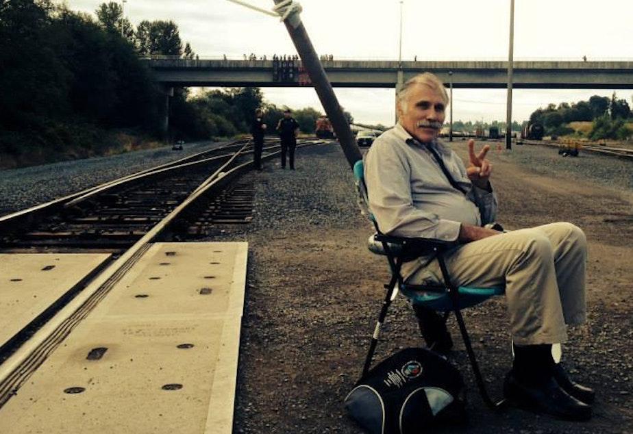 caption: Activist Michael Lapointe at the BNSF Railway blockade in September 2014.