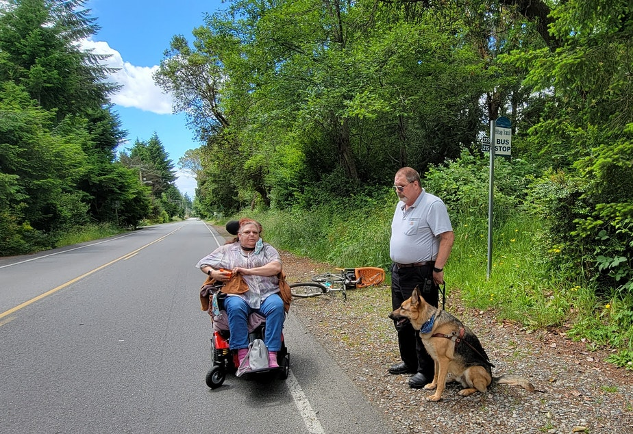 caption: A man and his dog, and a woman in a power chair wait in the gravel and along the shoulder at a bus stop on a rural road. People with disabilities chronicled their mobility challenges in a new report.
