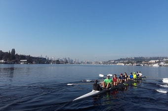 Rowers from the Pocock Rowing Center on the lake one Saturday morning recently.
