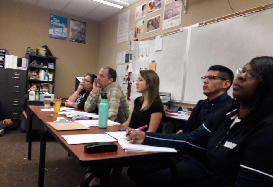 caption: A panel at Garfield High School on Monday discusses the NAACP's proposal to require ethnic studies.