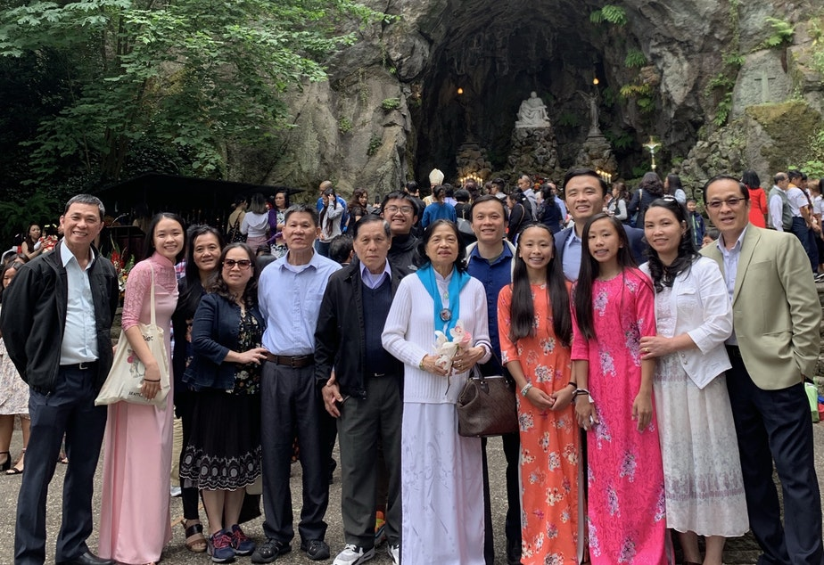 Hong (second from left) and her extended family pose for their annual picture at the 2019 Freedom Mass at the Grotto in Portland, Oregon. The mass is organized by Portland's Vietnamese Catholic community.