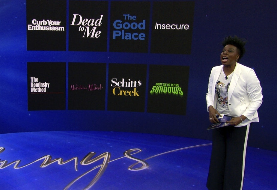 caption: Leslie Jones announces the 2020 Emmy nominees for Outstanding Comedy Series Tuesday during the 72nd Emmy Awards Nominations Announcements in Los Angeles.