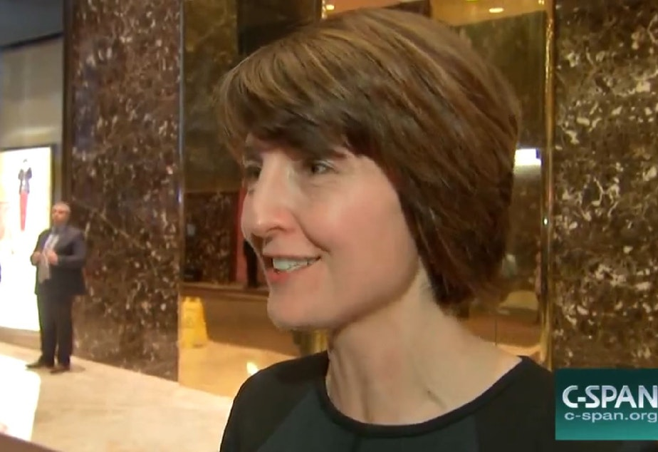 caption: Rep. Cathy McMorris Rodgers of Spokane at Trump Tower on Monday