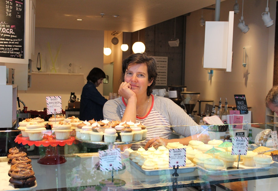 caption: Jody Hall, owner of Cupcake Royale, was an early supporter of the mayor's plan to raise the minimum wage to $15. Now she is having serious second thoughts.