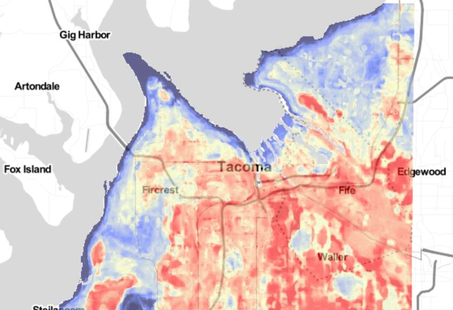 caption: A heat map produced in 2019 shows which parts of Tacoma get hottest on a summer afternoon.