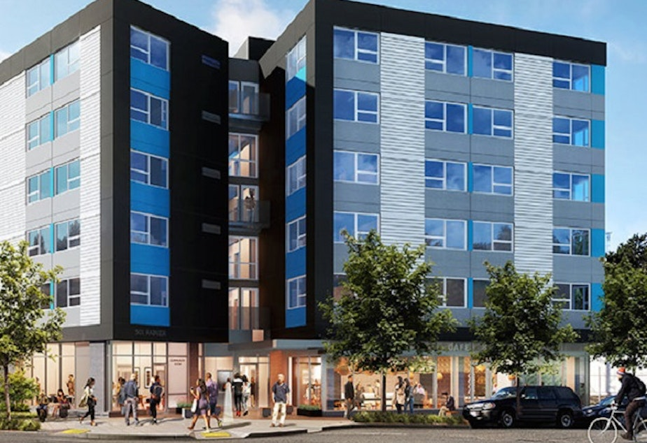 An artist's rendition of the new Plymouth Housing building underway on Rainier Avenue South in the Chinatown-International District.