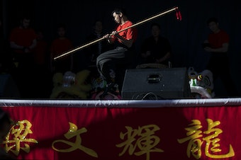 Master David F. Leong Dragon & Lion Group members perform during the Lunar New Year celebration on Sunday, Feb. 11, 2018, in the Chinatown-International District in Seattle. Tap or click on the first image to see more.