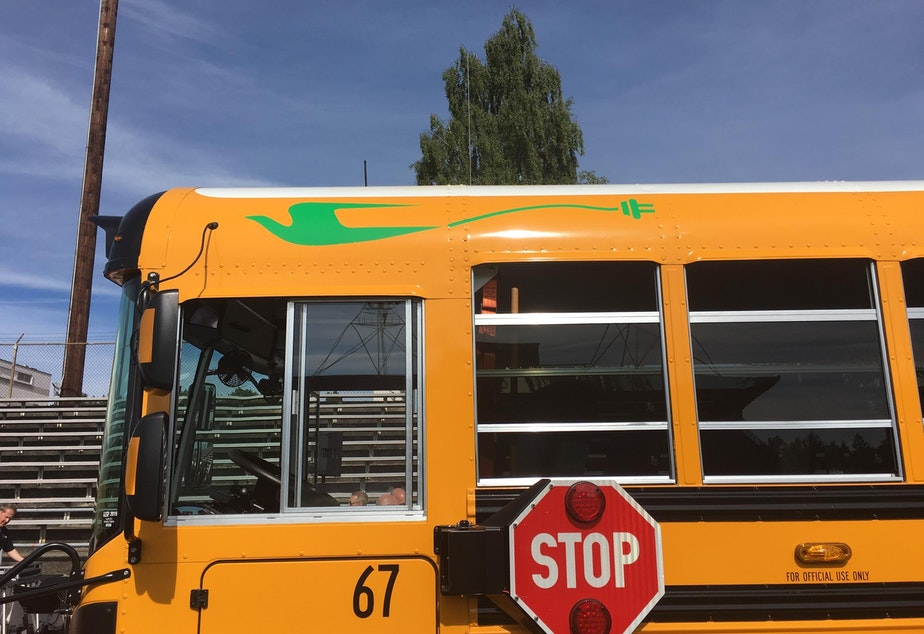 caption: The first electric bus for a Washington school district went to the Franklin Pierce School District in Tacoma.