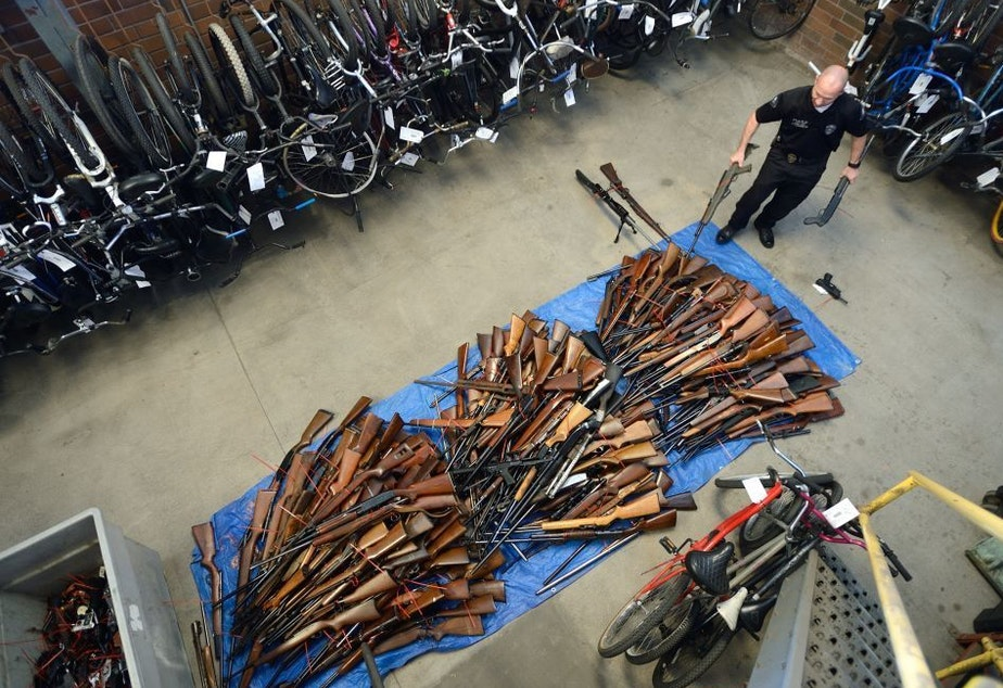 Guns collected in an effort to buy back firearms in Anaheim, Calif., in 2016. The police department obtained 676 guns and gave out $100 gift cards in exchange.