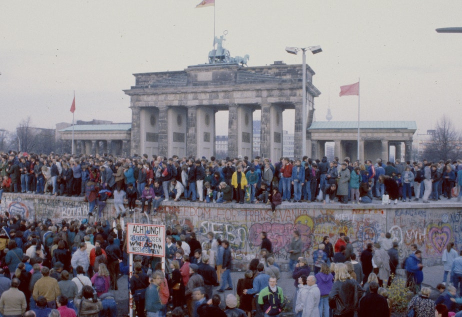 In front of the Brandenburg Gate on Nov. 10, 1989.