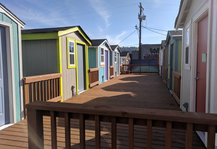 Tiny houses at the South Lake Union village that's set to open at the end of October 2018