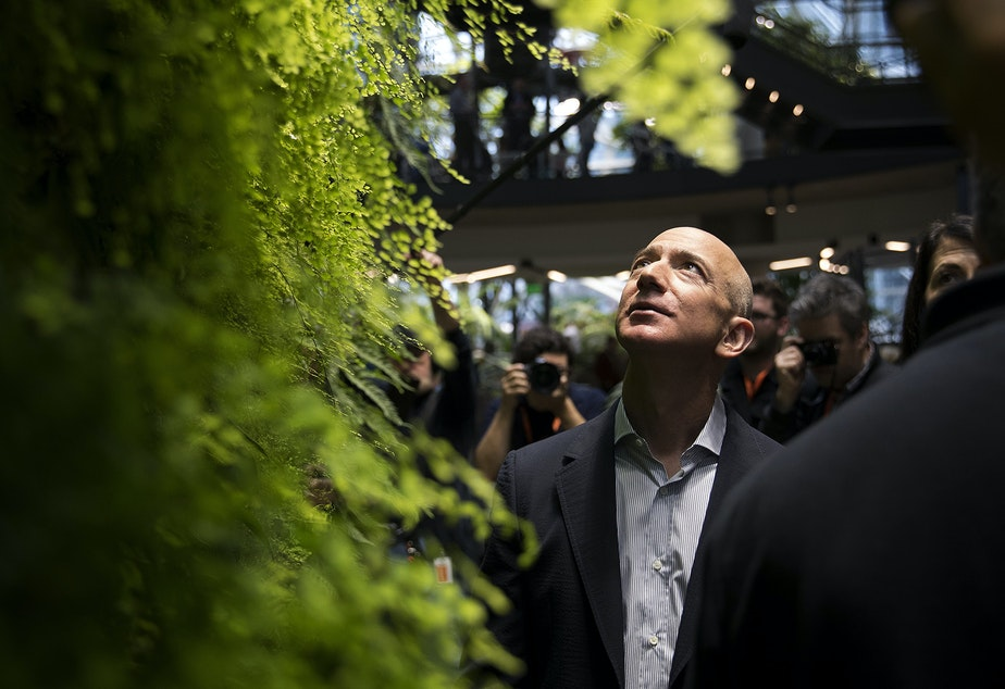 caption: Jeff Bezos looks up at the Canyon Living Wall on Monday, January 29, 2018, during the grand opening of Amazon's spheres in Seattle.