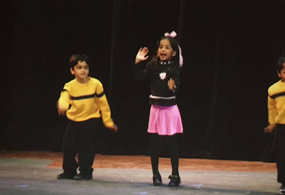 caption: A childhood photo of Evon Mahesh, Bollywood dancing. Evon later became uncomfortable doing hyper-feminine dance moves and wearing traditionally girly costumes.