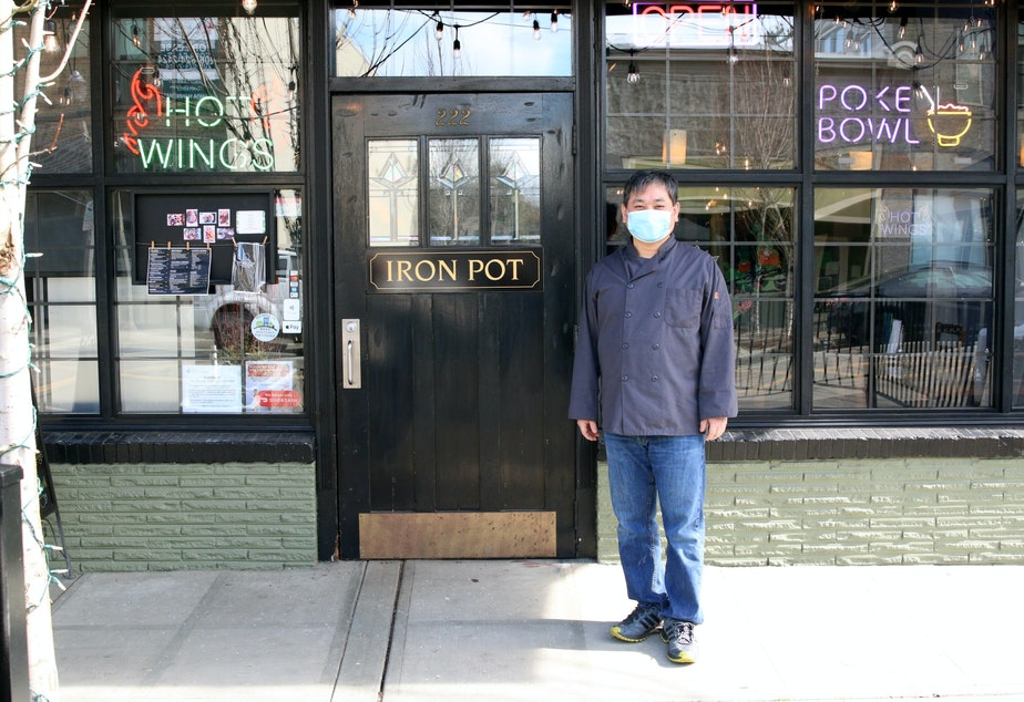 caption: Kyung Lee outside The Iron Pot restaurant in Kent