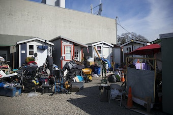 Tiny homes are shown on Wednesday, March 21, 2018, at the Licton Springs Tiny House Village on Aurora Avenue North in Seattle.