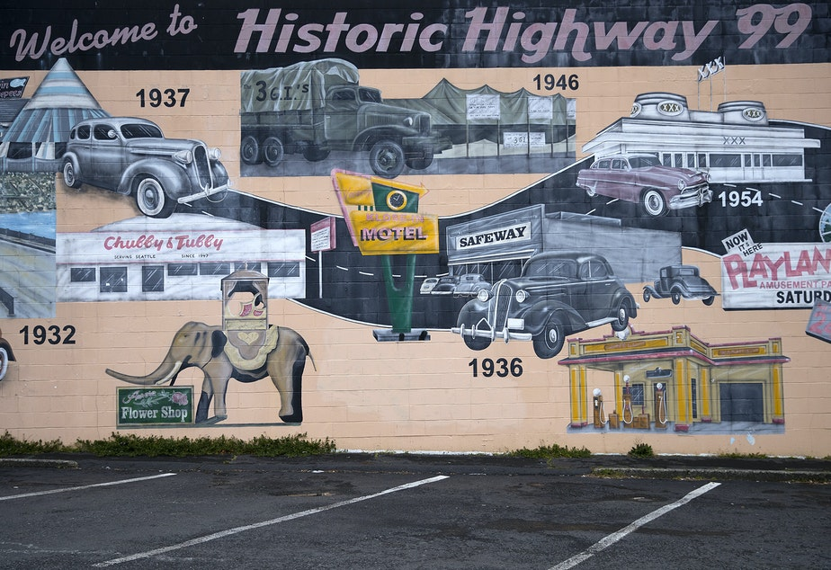 caption: A mural commissioned by the Aurora Merchants Association is shown on Monday, March 26, 2018, near the intersection of Aurora Avenue North and N.105th St., in Seattle.