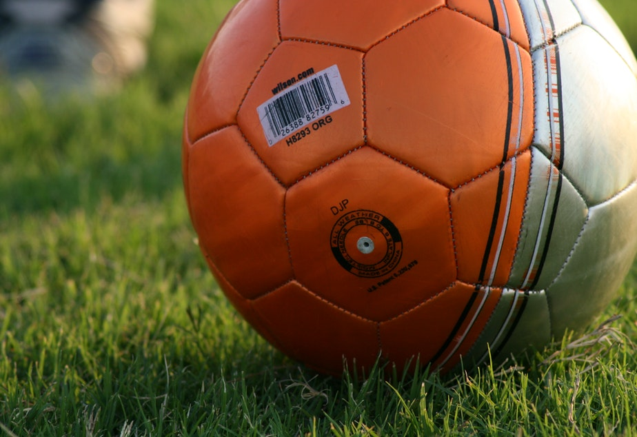 Soccer ball on the field.