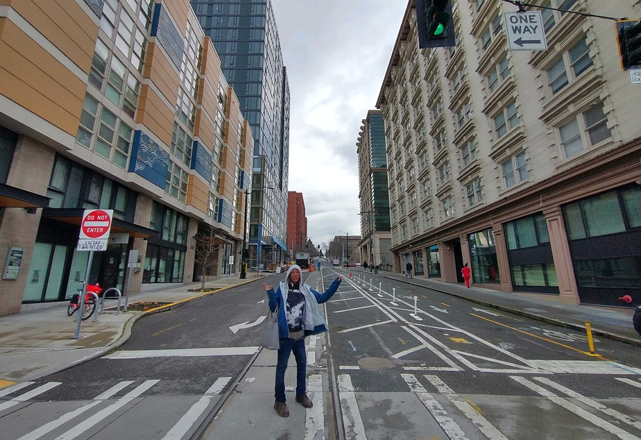 caption: Main Street and Fifth Avenue in Seattle.