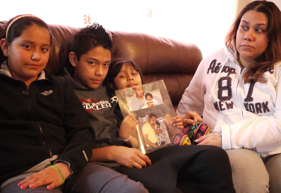 Veronica Noriega (far right) says she's struggled to pay bills while her husband's been in detention. Ramon Mendoza-Pascual and Noriega's children at their home in Auburn, from left: Veronica, 11, Jose, 13, and Ashley, 5.