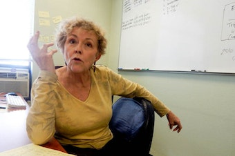 Linda Brewster of Port Townsend is in Seattle to make some phone calls for I-735.