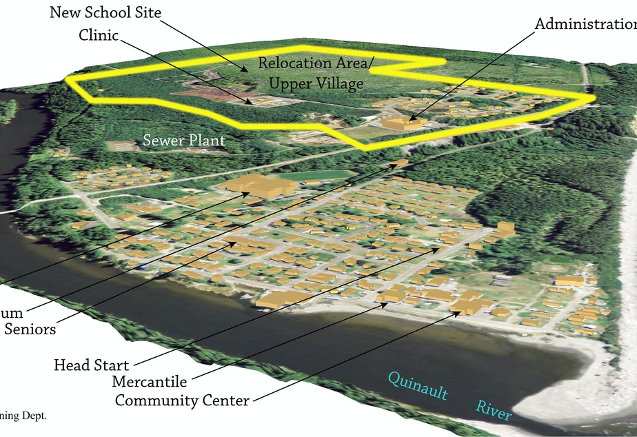 caption: The Quinault Indian Nation has started construction on a new village to move residents of Taholah away from the dangers of a rising sea.