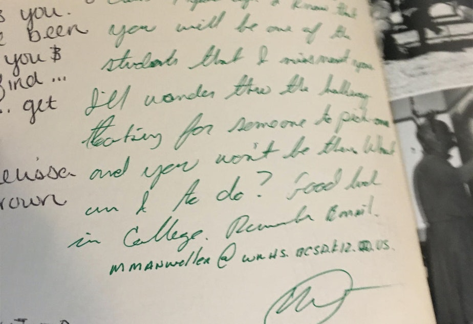 In the Idaho woman's senior yearbook, she says Manweller wrote a message telling her he would miss her.