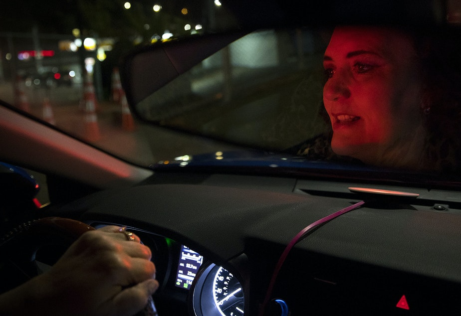 caption: Melinda Miner drives for Uber on Tuesday, September 10, 2019. She's been driving the night shift for four years, hitting the road at 11 p.m. and driving until 6 or 7 a.m. Miner drives for both Uber and Lyft.