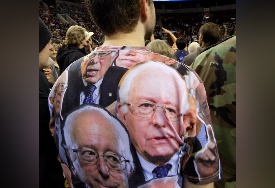 Bernie Sanders supporter wears camouflage shirt to a Sanders rally at the Key Arena, March 20, 2016.
