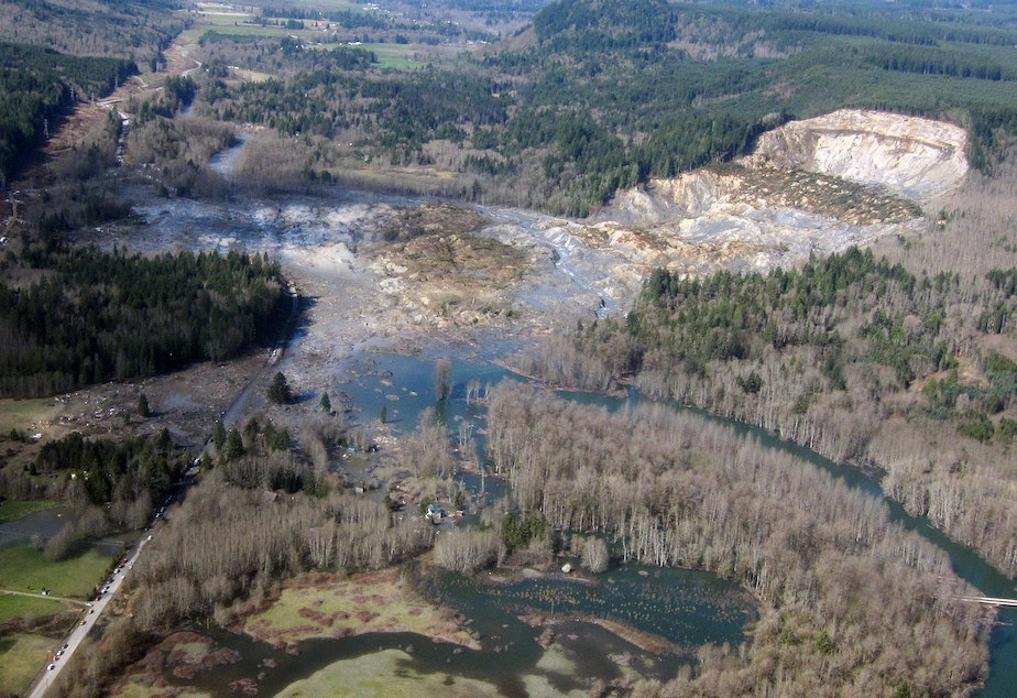 caption: The aftermath of the fatal landslide in Oso, Washington, in 2014