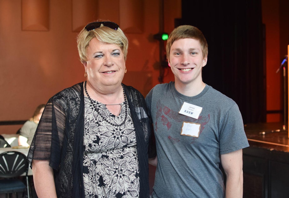 caption: Kelly and James at KUOW's Ask a Transgender Person event