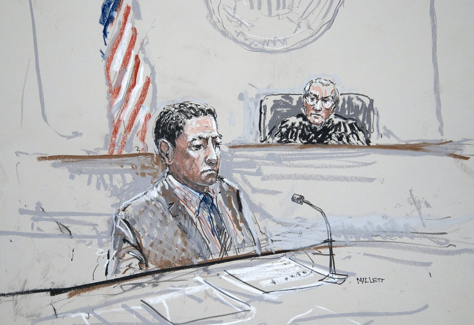 caption: Raphael Sanchez is seen in U.S. District Court in Seattle in this artist's sketch.