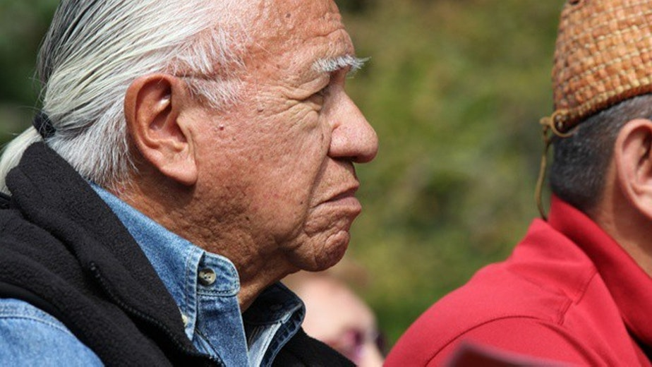 caption: Billy Frank Jr. known for his decades of defending Washington tribes' treaty rights, fears the rights will be worthless as overfishing, dams and climate change take their toll on the habitats salmon need to survive. August 2012.