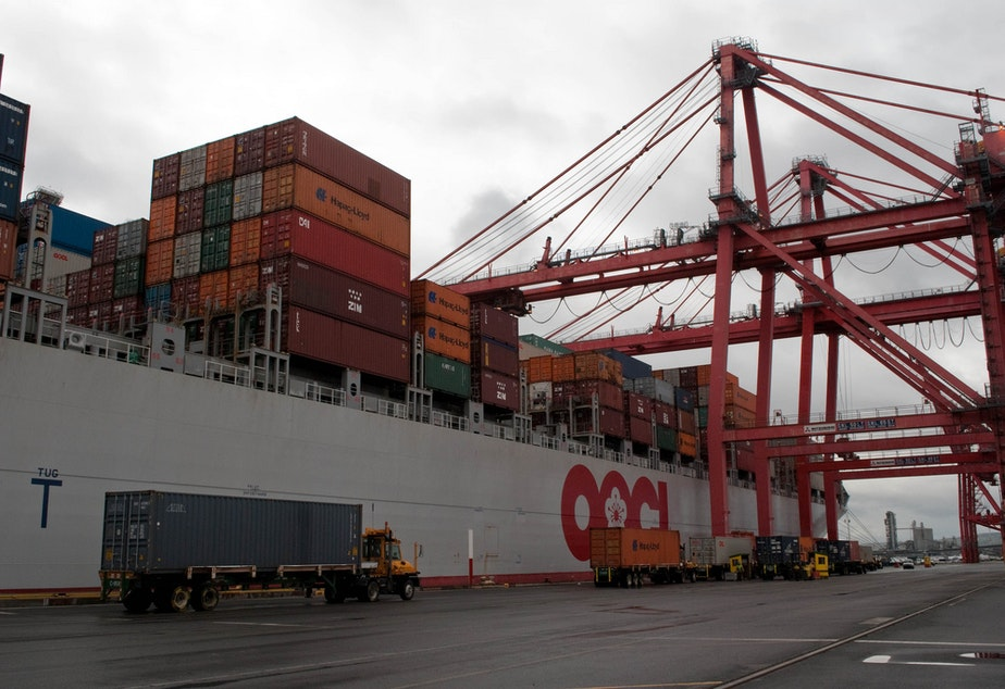 caption: A container ship at the Port of Seattle.