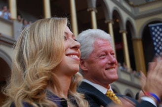 Chelsea and Bill Clinton in 2008.