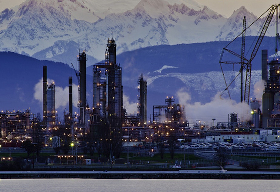 The Tesoro refinery in Anacortes, one of Washington's top 10 sources of greenhouse gases.