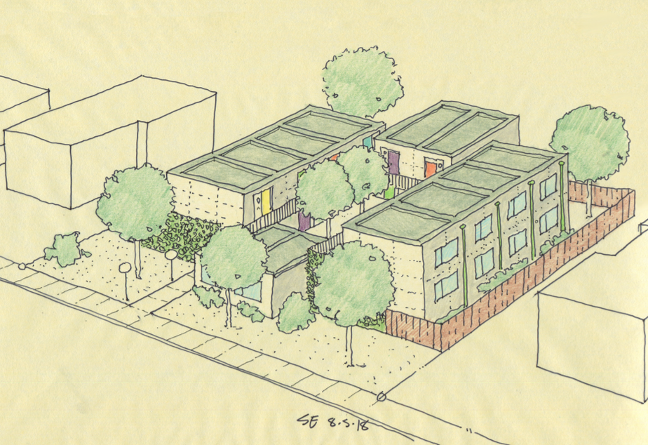 caption: Architectural rendering of modular units