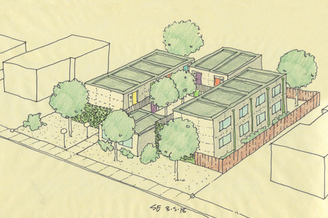 Architectural rendering of modular units