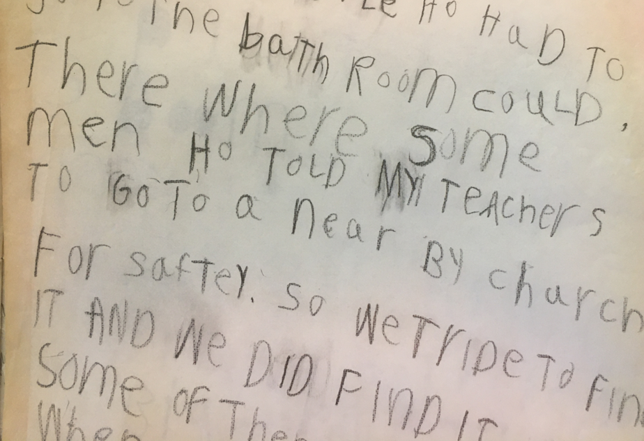 caption: In his first grade journal, Austin Jenkins described reaching Randle, Washington after evacuating Camp Cispus and being directed to a local church to take shelter following the eruption of Mount St. Helens on May 18, 1980.