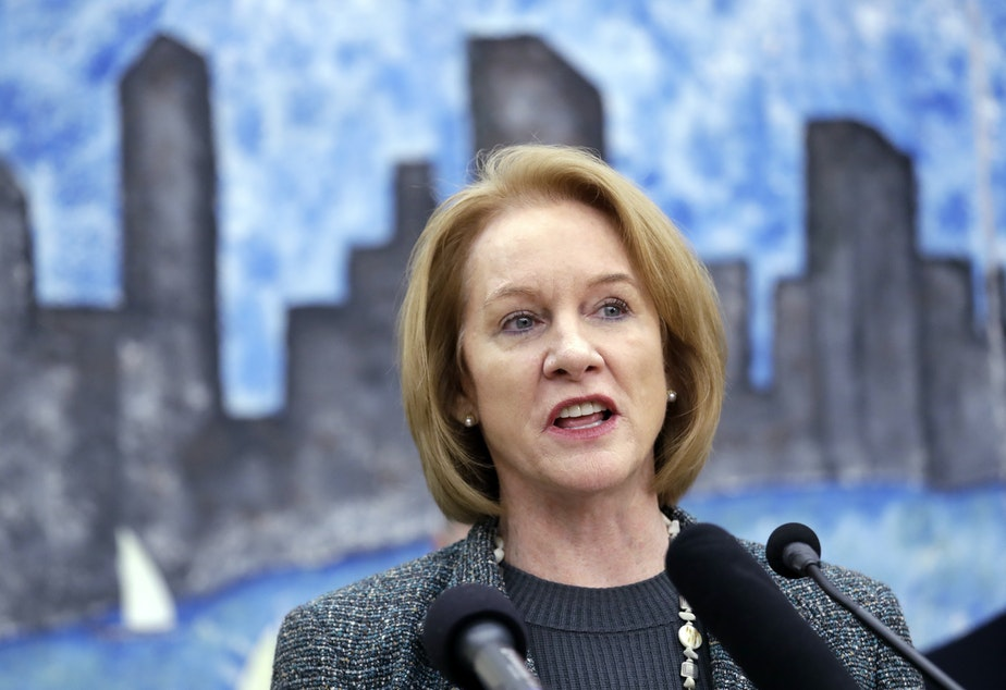 caption: Seattle Mayor Jenny Durkan speaks at a news conference Thursday, Feb. 8, 2018, in Seattle.