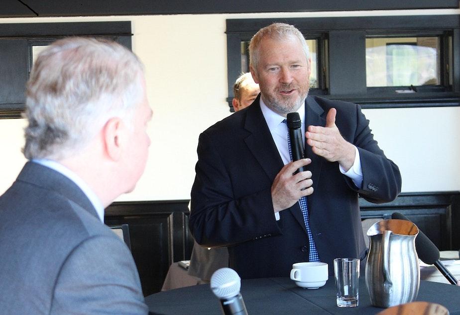 caption: Mayor Mike McGinn and State Senator Ed Murray debating at a Ballard Chamber of Commerce luncheon last month