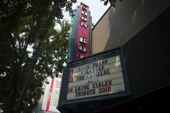 The Showbox is shown on Tuesday, August 14, 2018, on 1st Avenue in Seattle.