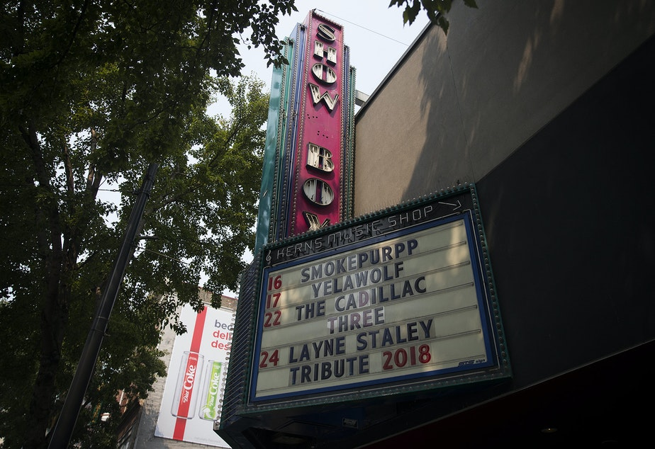 caption: The Showbox is shown on Tuesday, August 14, 2018, on First Avenue in Seattle.
