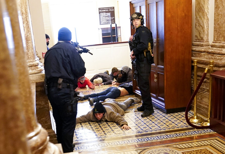 caption: U.S. Capitol Police hold protesters at gun-point near the House Chamber inside the U.S. Capitol on Wednesday, Jan. 6, 2021, in Washington.