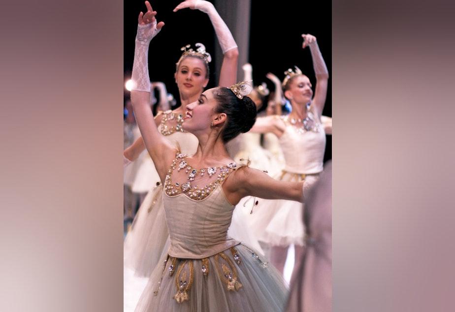 "caption: Pacific Northwest corps de ballet dancer Leta Biasucci in George Balanchine's ""Diamonds."""