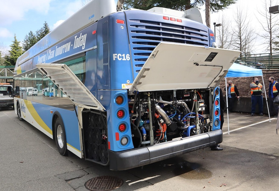 caption: Bus manufacturer New Flyer and fuel cell maker Ballard Power Systems of Vancouver, Canada, showed off the compressed hydrogen-powered bus to Washington and Oregon transit agencies.