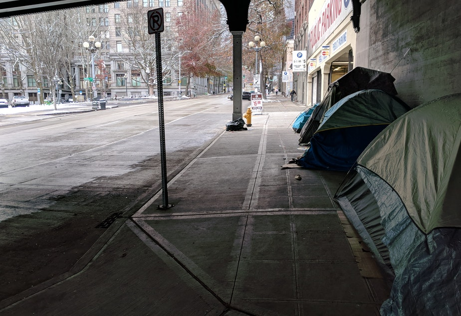 caption: Tents under an overpass in Seattle during freezing temperatures on Monday, February 4th.
