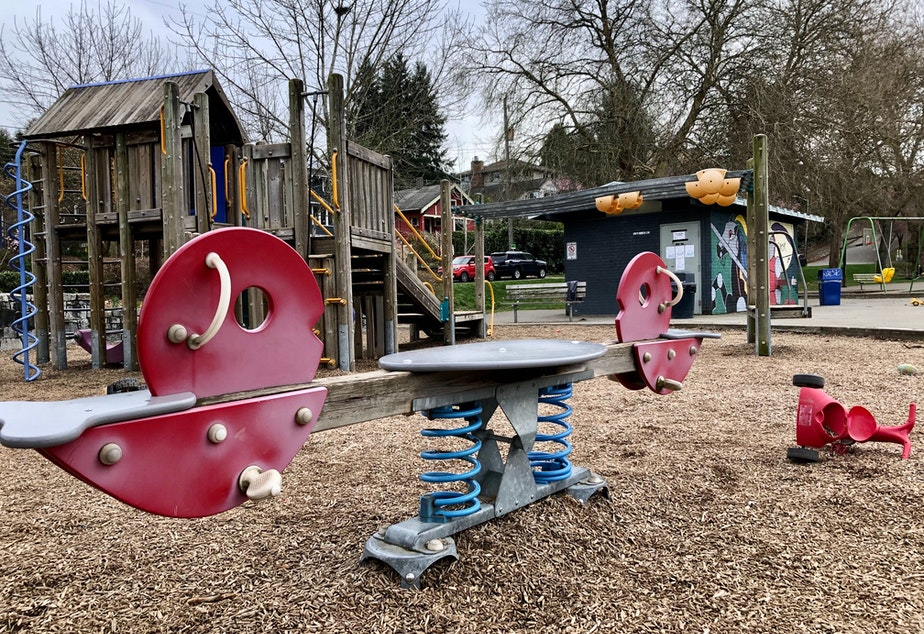 caption: Lakewood Park playground in south Seattle was unusually quiet on Saturday, March 14, 2020.